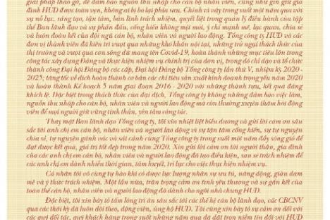 Thư chúc Tết nhân dịp Xuân Tân Sửu 2021 của Đồng chí Nguyễn Việt Hùng - Bí thư Đảng uỷ, Chủ tịch HĐTV Tổng công ty